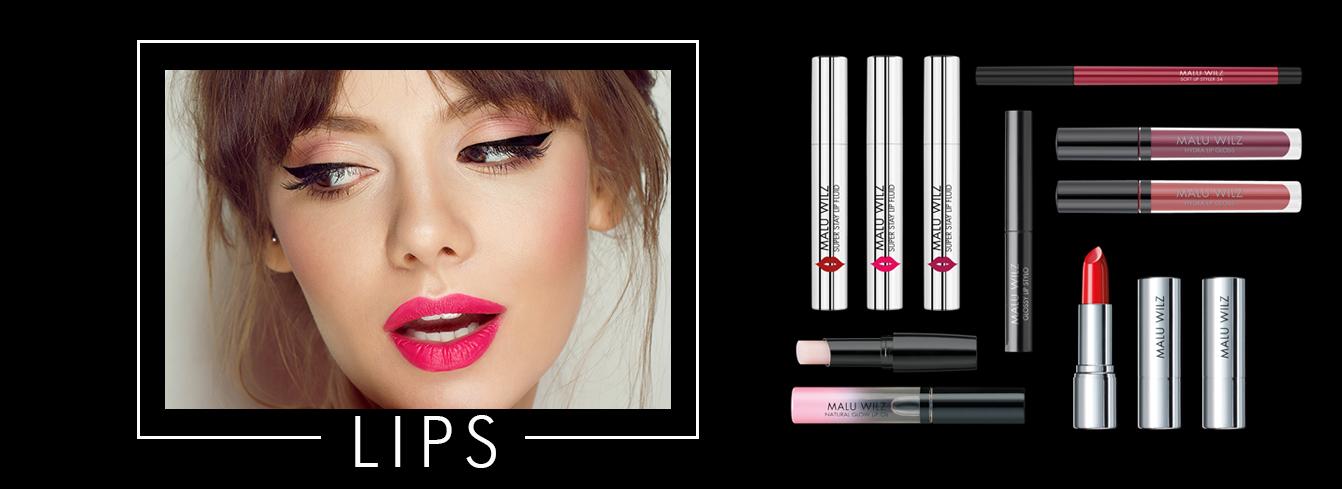 Porträt junger Frau mit Lippenstiften