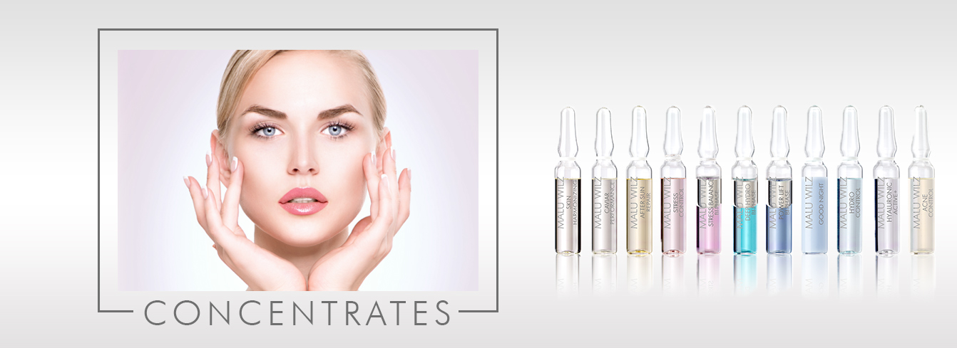 young woman with ampoule products
