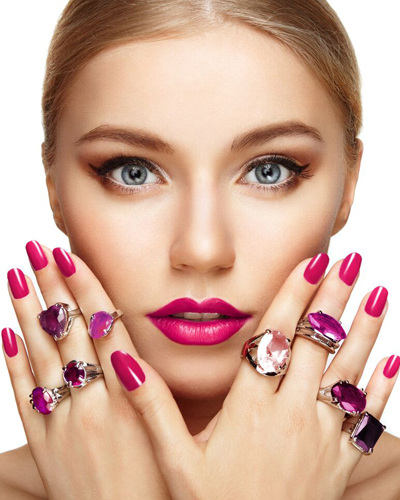 young woman with nail polish and rings
