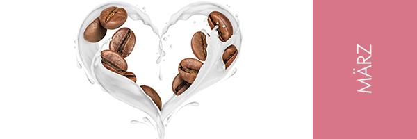 Herz aus Milch und Kaffeebohnen