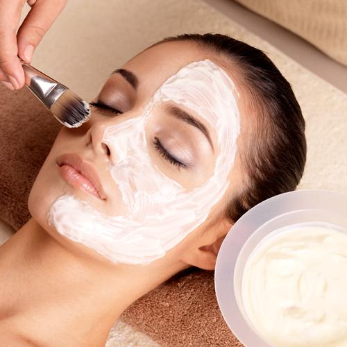 young woman having a facial